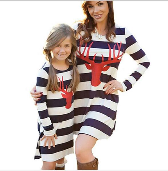 Weihnachten Familie Passende Outfits Elchkopf Print Eltern-Kind-Kleid Streifen Mutter Tochter Kleider Langarm Frauen Mädchen Kleidung YL942