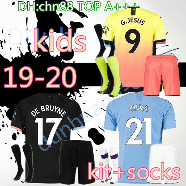 19 20 enfants + chaussettes maillot de football ville 2019 2020 MAHREZ G. JÉSUS DE BRUYNE KUN AGUERO maillot de football MENDY MAN uniformes maillot manchester