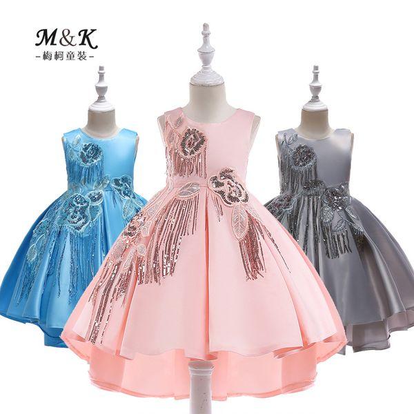 الأطفال الجديد ثوب فتاة الساتان Buliang شرائح مهدب سهرة فستان زفاف طفل