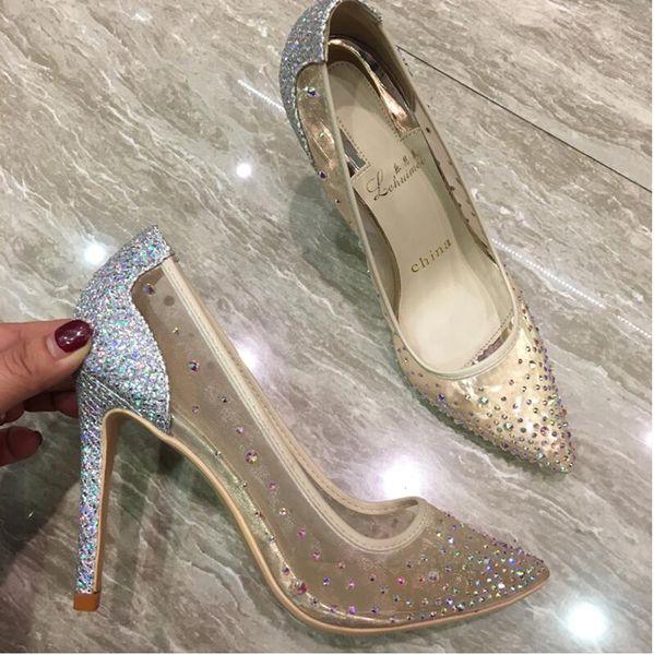 Sıcak Sale-BJYL Kadınlar Sivri Burun Topuklu Kristal bling moda Gümüş Ayakkabı yüksek topuklu pompalar 12 cm Parti Düğün ayakkabı see ...