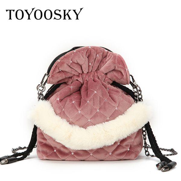 toyoosky design brand fashion velour chain shoulder bags women mini bucket handbags diamond lattice female crossbody bag bolsas