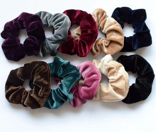 best selling Wholesale Women Elegant Velvet Solid Elastic Hair Bands Ponytail Holder Scrunchies Tie Hair Rubber Band Headband Lady Hair Accessories