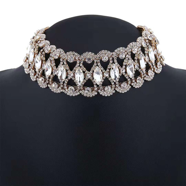 full diamonds chokers women crystal short necklaces girl fashionable jewelry evening dress accessories three colors silver golden black