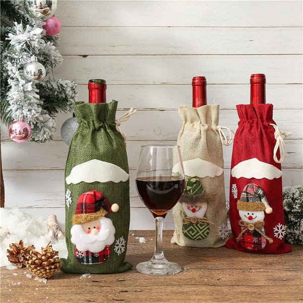 Botella de vino de Navidad Moda Cubiertas ciegas los vinos de Champagne embalaje de regalo Bolsas Halloween Party Dinner Table Decorar TTA1810