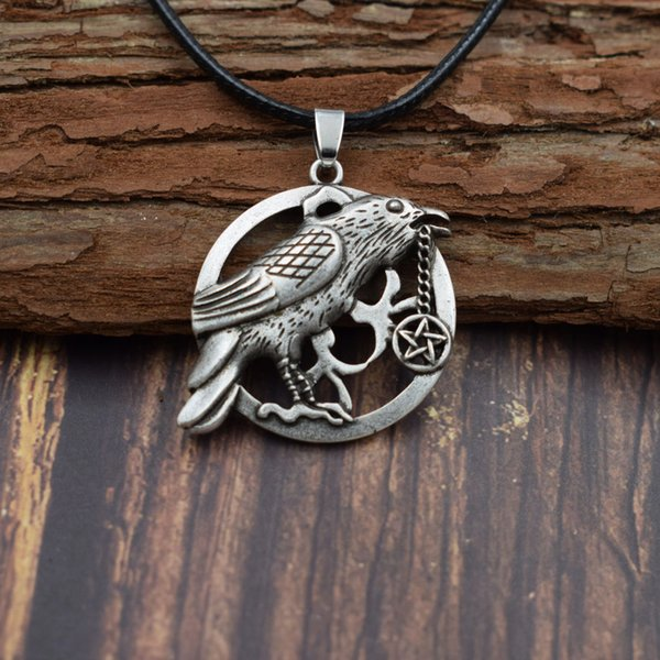 Norse Raven necklace Crow Wicca Pagan Moon Pentagram Wicca Gothic Dark Magic Protection Jewelry unic Norse Gothic Tali