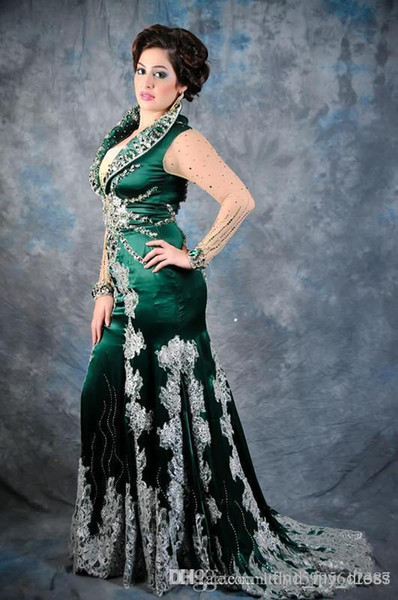 Latest Design Popular Green Plus Size Mermaid Evening Dresses Long Illusion Sleeve Crystal Silk Imitation Lace Pageant Gowns Custom Size 257