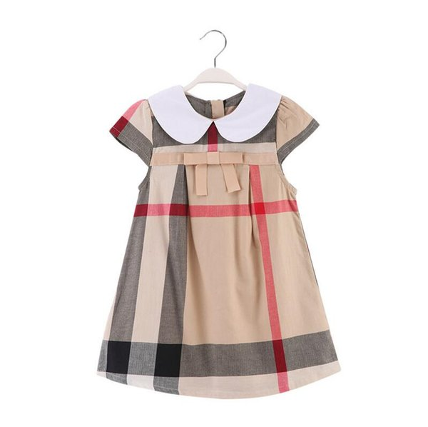 kids girls dress Designer Label T Shirts Top Shirts girls Lapel short sleeve high quality bowknot plaid dress Children Clothes dresses