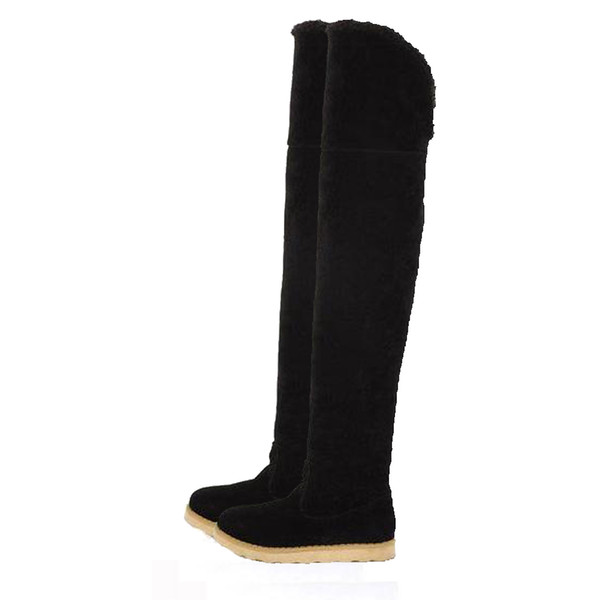 Women Long Boots Winter Qualcomm Suede Over The Knee Snow Boots Ladies Flat Bottom Suede Long Boot Warm Shoes