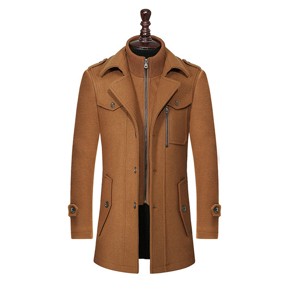 top popular New Winter Wool Coat Slim Fit Jackets Fashion Outerwear Warm Man Casual Jacket Overcoat Pea Coat Plus Size M-XXXL 2021