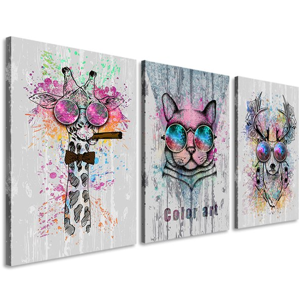 Abstract Animals Canvas Wall Art Giraffe Deer Leopard Color Painting Prints Decor For Bedroom Living Room Classroom Gift For Kids Framed