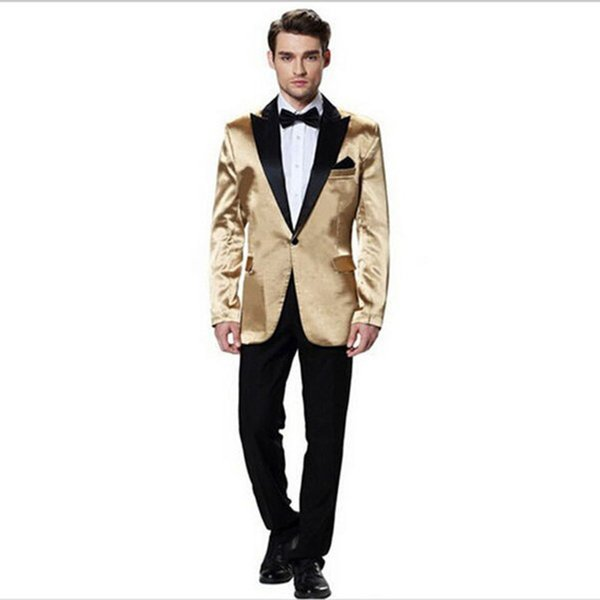 Top Selling High Quality costume homme groom suits Gold three Piece men suit peaked lapel formal suits ( jacket+Pants+tie)