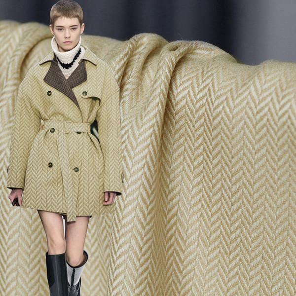Pearlsilk Japanese Herringbone Ginger Yellow 100%Wool Garment Materials Spring Pants Suits DIY clothes fabrics Freeshipping