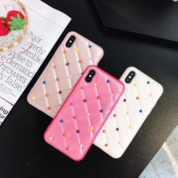 Süßigkeitfarbe Weidennagel-Telefon Kasten für iPhone X xr xsmax 6S 7 8 plus weiche lederne Art und Weise MUSCHEL-Abdeckungsfälle