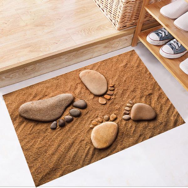Huellas de playa Calcomanías de Piso 3D PVC Familia Etiqueta Engomada de Azulejo de Piso para el Baño Cuarto de Baño Decoración