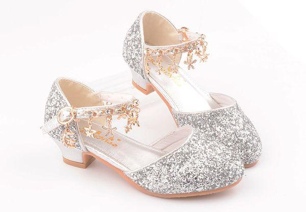 2019 neue High Heels für Kinder heiß-Verkauf Produkte Die Prinzessin Schuhe Sommer Mode süße Tanzschuhe Diamond Girl funkeln hochhackig