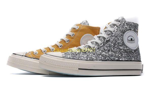 Chuck lantejoulas 1970 x Chiara Ferragni Negra alta de lona amarela ocasional sapatos da moda de luxo designer sneakers homens mulheres formadores zx02