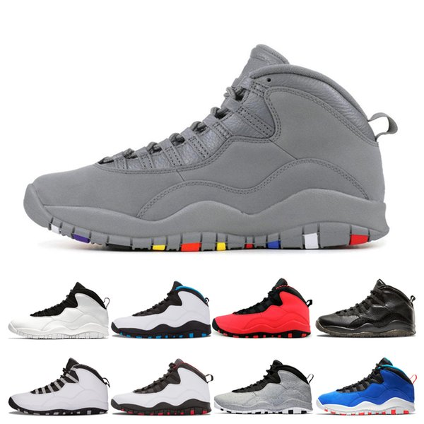 Wholesale 10 men basketball shoes Cool Grey Chicago GS Fusion Red Tinker Huarache Light I'm Back Cement white 10s mens sports sneakers