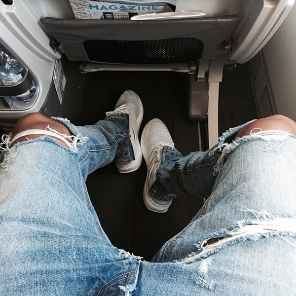 High quality new men Ripped skinny Slim Destroyed Holes jeans denim trousers hip hop swag fashion motorcycle Joggers pants
