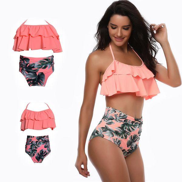 Frauen Mädchen Hohe Taille Bikini Set Rüschen 2 Stücke Bademode Für Mutter Und Tochter Badeanzug Bikinis Familie Passenden Outfits Look Y19052002