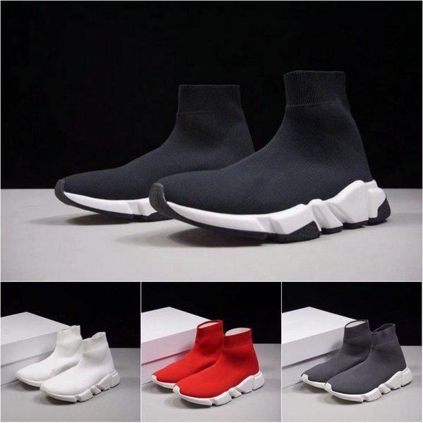Calcetín Zapatillas de deporte de lujo Speed Trainer Hombres Mujeres Negro Blanco Rojo Gris Zapatillas de deporte Run Runers Top de moda Botas Tamaño 36-45