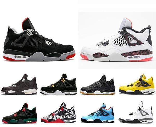 Трэвис 4 Кактус Джек 4s Mens Raptors Баскетбольные кроссовки 4s Белый цемент Черный Красн