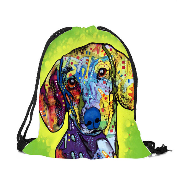 Colored Oil Painting Bulldog Labrador Polyester Drawstring Bags For Women Men Beach Travel Outdoor Backpacks Super Quality
