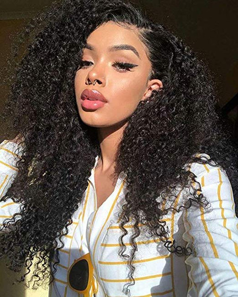 150% Density Lace Front Kinky Curly Wig 9A Mongolian Afro Curly Human Hair 360 lace frontal Wigs Natural Hairline for African American Women