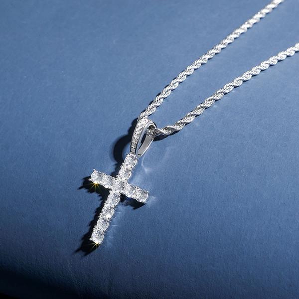 Collar de plata esterlina 925 de Hip Hop con adornos de cruz maciza con relleno de circonio para hombres y mujeres Nuevo