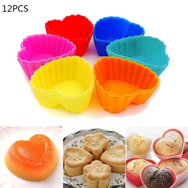 IVYSHION 12pcs/Lot Heart Shape Silicone Cake Tools Reusable Cake Mold Cupcake Muffin Cups Baking Tool Molds Mini Cupcake Liners