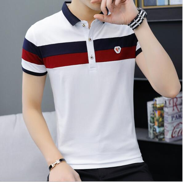 2019 Yaz Erkek Polo Moda Tasarımcısı Tişörtleri Erkekler için Marka Polo Gömlek Kısa Kollu Streetwear Nefes Erkek Tees Gömlek 2 Renkler M-4XL