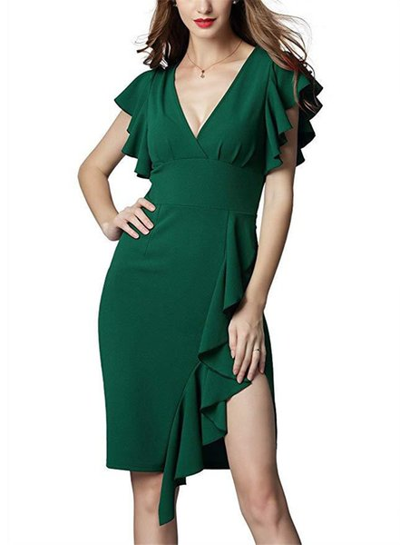 Ruffle Deep V Neck Womens Pencil Dresses Summer Party Sleeveless Pure Color Sexy Dresses Ladies Club Dress