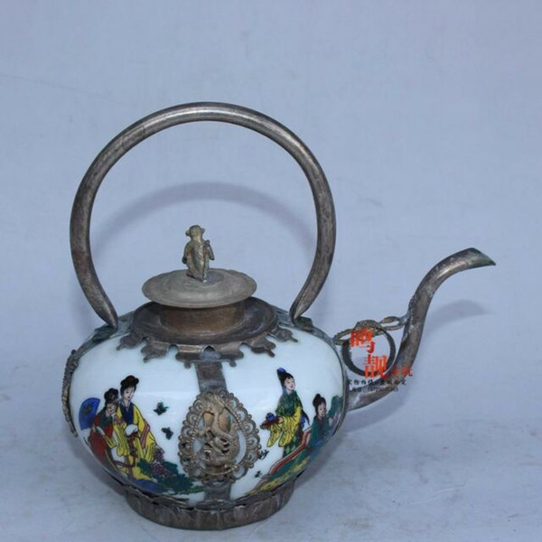China Handwork Silver copper Inlaid Blue white porcelain Figure painting Teapot