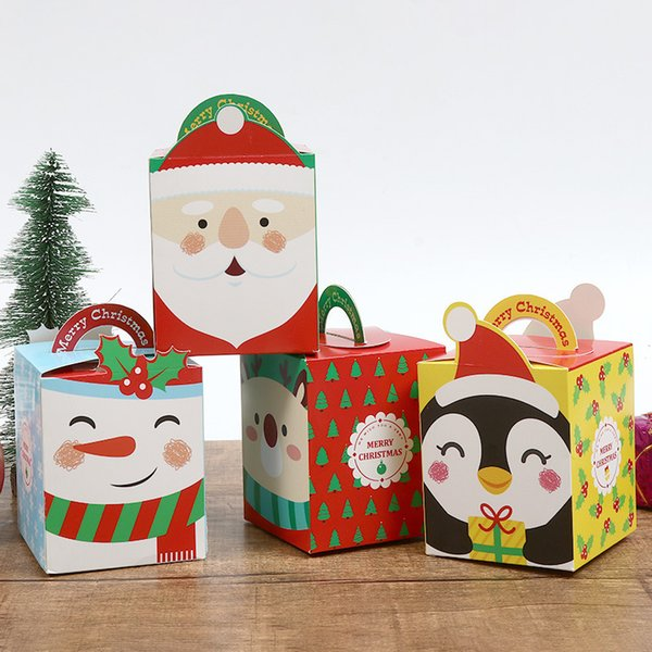Christmas Cartoon gift bags with handles Christmas Eve Apple gift box packaging Carton Customized Candy Box packaging