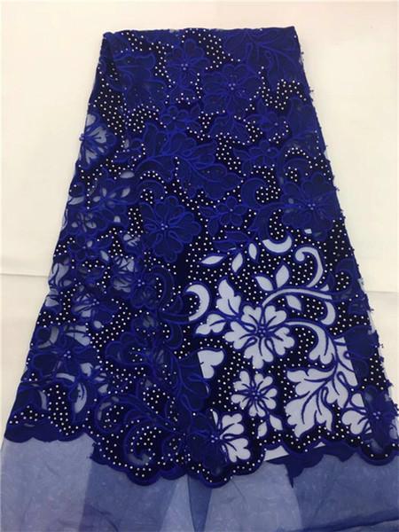 2018 Últimos Diseños Populares perlas de encaje Tela Royal Blue terciopelo Africano Tela de Encaje de alta calidad de seda india tela de encaje George
