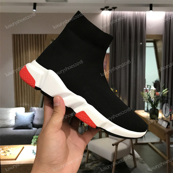 2019 Ace Luxury Designer Calcetines casuales Marca Speed ​​Trainer Negro Rojo Triple Negro Moda Calcetines Botas Sneaker Trainer Shoes 35-45