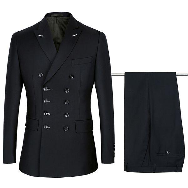 Men's suit men's solid color double-breasted fashion gentleman suit two-piece (jacket + pants) men's business casual suit