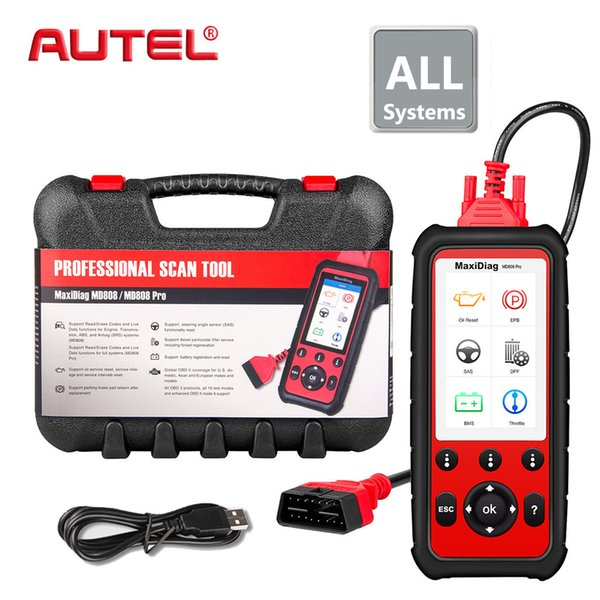 Full System Car Diagnsotic Tool Autel Maxidiag MD808 PRO OBD2 OBD support BMS/Oil Reset/ SRS/EPB/DPF Best Handheld Auto Scanner