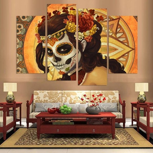 4pcs/set Unframed Skull Girl Colourful Face Figure Painting On Canvas Wall Art Painting Art Picture For Living Room Decor