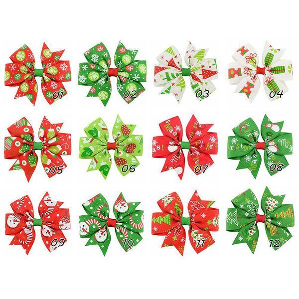 Baby Bow Hair Clips Christmas Grosgrain Ribbon Bows WITH Clip Snow Baby Girl Pinwheel Hairpins Xmas Hair Pin Accessories 664