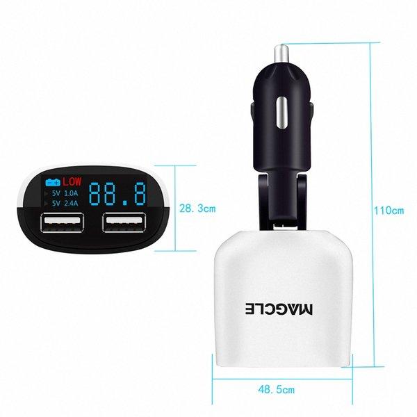 Universal Display LED Dual USB Adaptador de Carregador de Carro Mini Bala 5 V / 3.4A Monitor de Tensão para Tablet Telefone Inteligente Carregador de Telefone Do Carro
