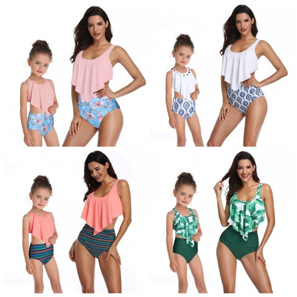 Girls Swimwear 2CS Bikinis Kids Summer Falbala Backless Bandage Tops Triangle High Waist Pants Swimsuit Beach Wear Bathing Suit 2-8T Q228