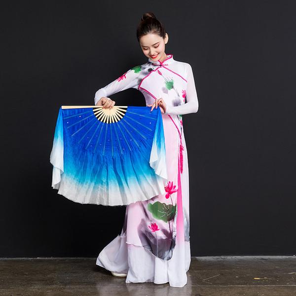 Chinesischen Stil Bambus Griff Fan Echte Seide Volkskunst Bauchtanz Prop Dual Fan Paar Party Bühne Königsblau Weiß
