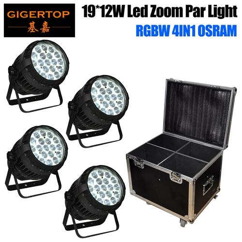 4in1 Flightcase Pack 19x15W Zoom Led Waterproof Par Cans Aluminum Housing DMX/Auto/Master-slave/Sound Function 19x15W OS-RAM LED