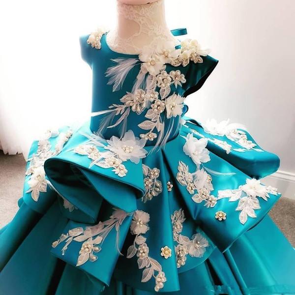 2020 Pearls Blue Flower Girl Dresses 3D Applique Beads Little Girl Wedding Gowns Vintage Satin Pageant Dress