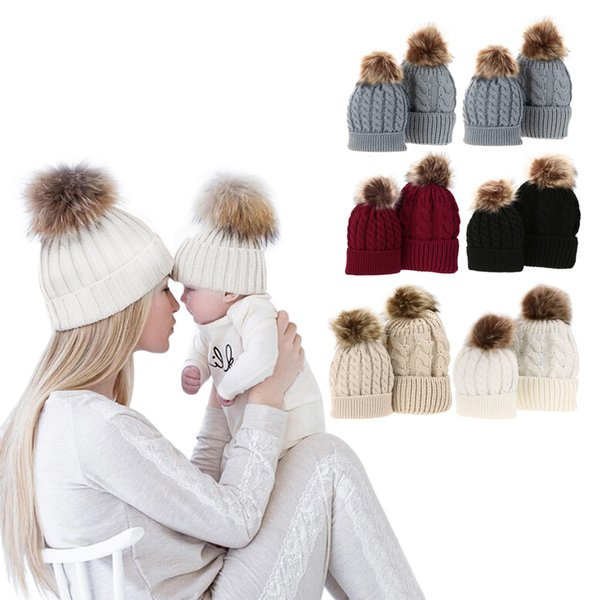 Baby Hat with Pompon Warm Raccoon Fur Bobble Beanie Kids Cotton Knitted Parent-Child Hat Winter Caps Xmas Gift
