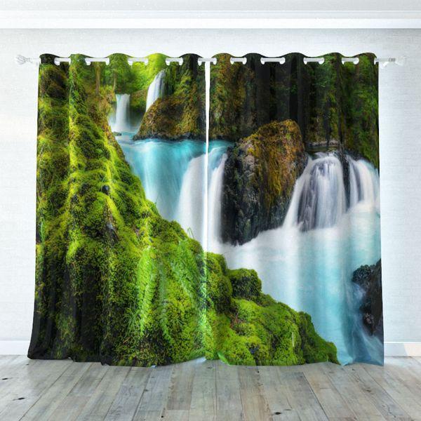 3D Moss Stream Blockout Photo Curtain Printing Curtains Drapes Fabric Window CA