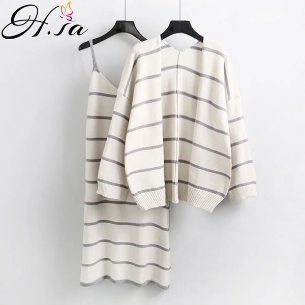 HSA Autumn Fashion New Female 2 PCS Sweater and Dress Casual Striped Sweater Jumpers Cardigans With Dress Pull roupas feminina