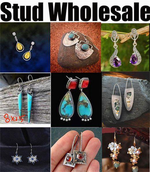 fashion new European American style designer wholesale manufacturer earrings silver jewelry women men cheap blue long