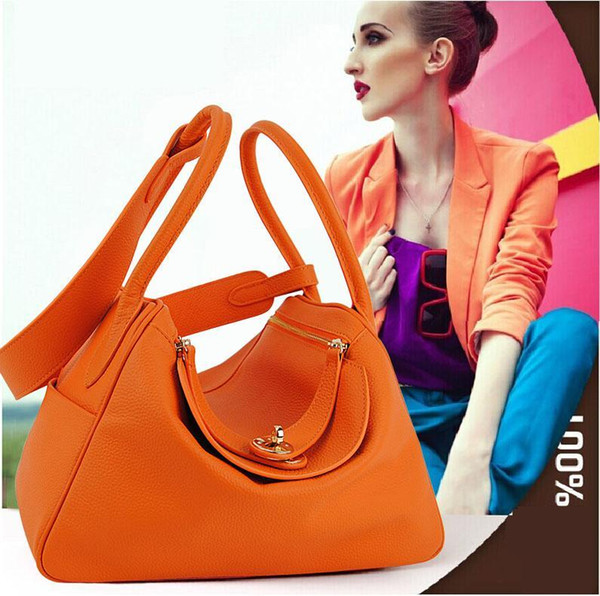 Women Genuine Real Cow Leather Handbag Doctor Satchel Shoulder Bag Fashion Purse Designer Daily Work Lady Stylish Free Shipping