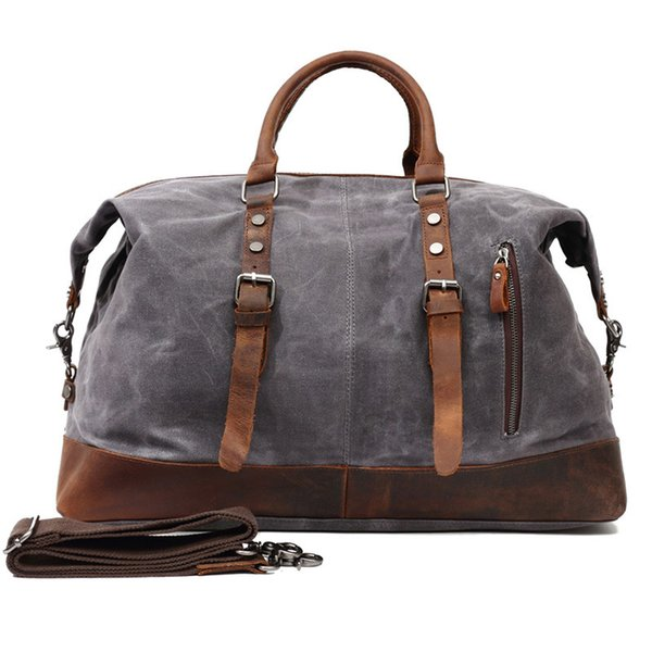 Large capacity waterproof handbag with Shoulder strap travel bags high density canvas and full-grain leather Duffel Bags